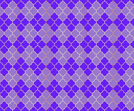 Osman Mosque Vector Seamless Pattern. Argyle rhombus muslim textile background. Traditional mosque pattern with gold grid. Chic islamic argyle seamless design of lantern lattice shape tiles.