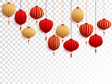 Red and gold chinese lanterns on transparent background. Traditional asian festival holidays decor elements. Chinese and chinatown festive paper lanterns vector illustration. New Year decoration.