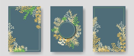 Vector invitation cards with herbal twigs and branches wreath and corners border frames. Rustic vintage bouquets with fern fronds, mistletoe twigs, willow, palm branches in green yellow.