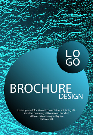 Catalog cover vector template. Turquoise sea green marine waves texture. Marketing catalog trendy layout design. Cover with headline sample text. Liquid rippling motion background pattern. Illustration