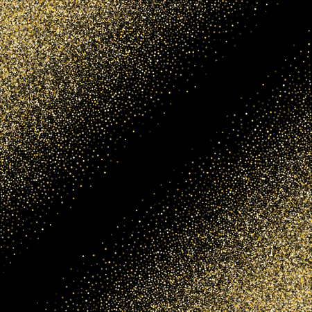 Gold sparkles glitter dust metallic confetti vector background. Premium golden sparkling background. Gold stardust texture tinsel confetti party vector. Yellow sparkle dust metallic decor.
