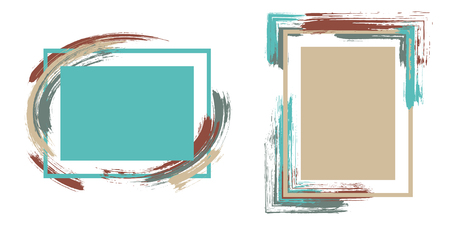 Grunge frames with paint brush strokes vector set. Box borders with painted brushstrokes backgrounds. Educational graphics design empty frame templates for banners, flyers, posters, cards. Illustration