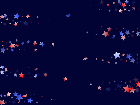 American Patriot Day stars background. Holiday confetti in USA flag colors for Presidents Day. Solemn red blue white stars on dark American patriotic vector. 4th of July holiday stardust.