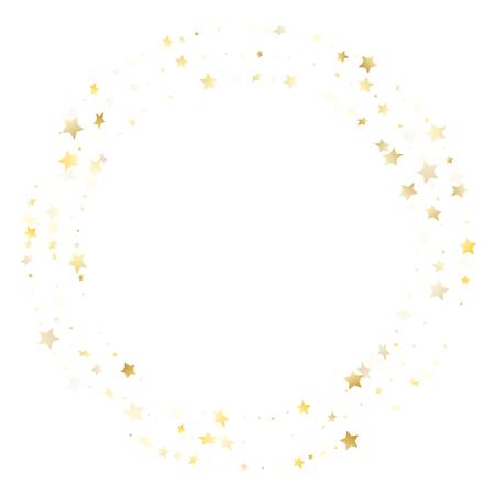 Vettore di scintilla stella d'oro volante con sfondo bianco. Le scintille di natale astratte con gradiente d'oro glitterano il motivo a stella geometrico. Contesto del manifesto della luce delle stelle di compleanno. Vettoriali