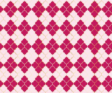 Arabian Mosque Vector Seamless Pattern. Argyle rhombus muslim fabric background. Traditional ramadan pattern with gold grid. Cool islamic argyle seamless design of lantern lattice shape tiles.