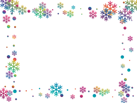 Winter snowflakes and circles border vector backdrop. Unusual gradient snow flakes isolated banner background. New Year card border winter pattern with trendy snowflake shapes isolated. 스톡 콘텐츠 - 125730855