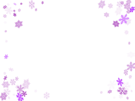 Winter snowflakes border trendy vector background.  Macro snowflakes flying border illustration, holiday banner with flakes confetti scatter frame, snow elements. Frosty cold season symbols. Çizim
