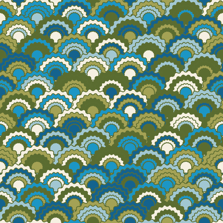 Fairy mermaid scales squama background, vector seamless fabric pattern, tiled textile print. Classic japanese squama scales seamless arc tiles motif. Roof pattern.