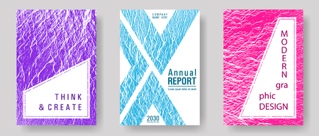 Annual report covers design set. Teal pink purple waves texture backdrops. Buzzing rippling motion background texture. Vector templates for corporate annual report. Presentation slides cover pages.