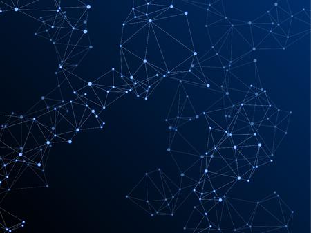 Concept cybernétique de structure de plexus gométrique. Nœuds de réseau plexus fond bleu foncé. Nœuds hub fractals connectés par des lignes. Résumé de génie génétique. Vecteur de forme de grille de structure de coordonnées.