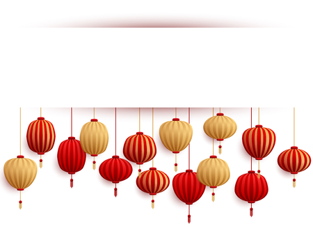 Chinese lanterns New Year card template. Holiday elements, china asian paper cut lamps, white frame with shadow. Chinese and chinatown festival paper red and gold lanterns vector illustrations.  イラスト・ベクター素材