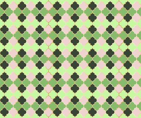 Pakistani Mosque Window Vector Seamless Pattern. Ramadan mubarak muslim background. Traditional ramadan mosque pattern in gold grid borders. Trendy islamic window grid design of lantern shapes tiles.