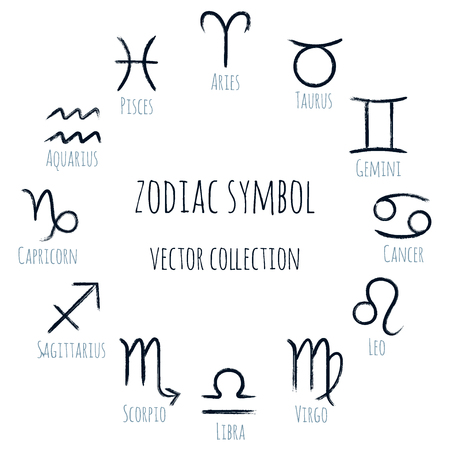 White zodiac symbols vector set, collection of hand painted astrology signs. Aries, Taurus, Gemini, Cancer, Leo, Virgo, Libra, Scorpio, Sagittarius, Capricorn Aquarius Pisces icons isolated on white Illustration