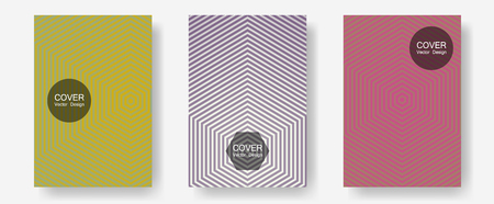 Cool flyers set, vector halftone poster backgrounds. Minimal booklets. Halftone lines annual report templates. Business folders branding. Geometric lines shapes patterns set for flyer design.