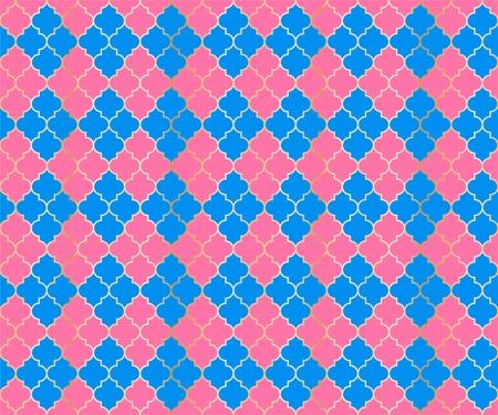 Islamic Mosque Vector Seamless Pattern. Argyle rhombus muslim textile background. Traditional mosque pattern with gold grid. Rich islamic argyle seamless design of lantern lattice shape tiles. 向量圖像