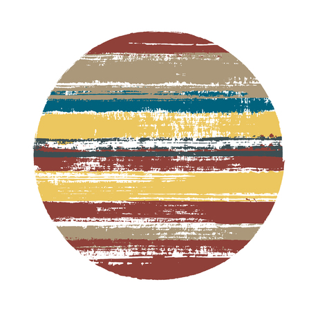 Modern circle vector geometric shape with stripes texture of paint horizontal lines. Old paint texture disk. Label round shape circle logo element with grunge stripes background.
