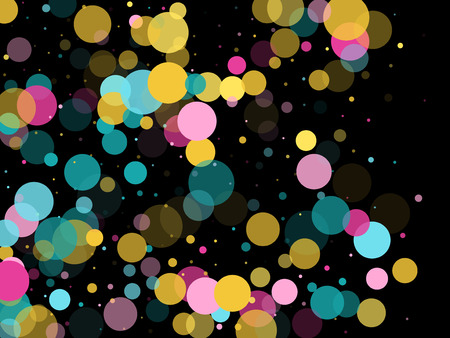 Memphis round confetti carnival background in blue, pink and yellow on black.  Childish pattern vector, children's party birthday celebration background.  Holiday confetti circles in memphis style.