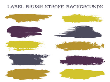 Craft label brush stroke backgrounds, paint or ink smudges vector for tags and stamps design. Painted label backgrounds patch. Interior colors guide book samples. Ink smudges, gold grey stains, spots. Illustration