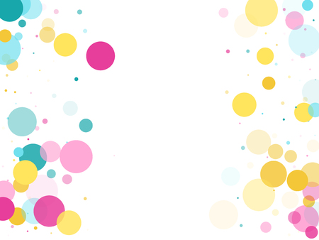Memphis round confetti flying background in cyan, crimson and gold on white.  Childish pattern vector, childrens party birthday celebration background.  Holiday confetti circles in memphis style.