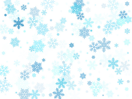 Snow flakes falling macro vector illustration, christmas snowflakes confetti falling chaotic scatter card. Winter xmas snow background. Airy flakes falling and flying winter cool vector background.
