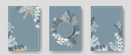 Vector invitation cards with herbal twigs and branches wreath and corners border frames. Rustic vintage bouquets with fern fronds, mistletoe twigs, willow, palm branches in grey.