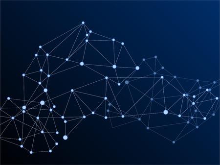 Big data cloud scientific concept. Network nodes plexus dark blue background. Tech vector big data visualization cloud structure. Nodes and lines polygonal connections. Artificial intelligence plexus.