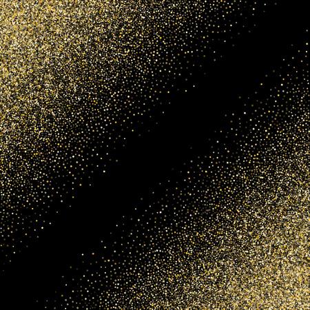 Gold funkelt Glitzerstaub metallischer Konfettivektorhintergrund. Erstklassiger goldener funkelnder Hintergrund. Gold Stardust Textur Lametta Konfetti Party Vektor. Gelbes Glitzerstaub-Metallic-Dekor. Vektorgrafik