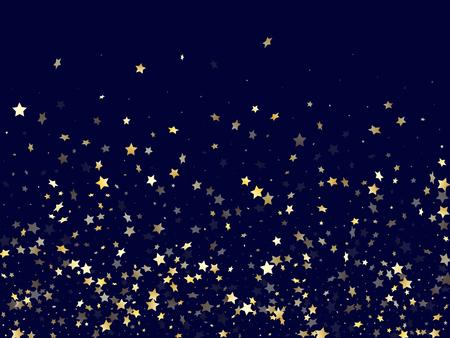 Elementos de brillo de estrella fugaz de oro de fondo de vector degradado de brillo. Hermosas estrellas de oro confeti cayendo brillo degradado destellos en azul oscuro. Telón de fondo del cartel de la luz de las estrellas de cumpleaños.