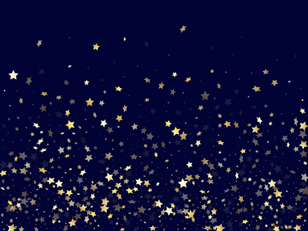 Gold falling star sparkle elements of glitter gradient vector background. Beautiful confetti gold stars falling glitter gradient sparkles on dark blue. Birthday starlight poster backdrop. Illustration
