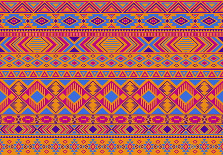 Ikat pattern tribal ethnic motifs geometric seamless vector background. Modern indian tribal motifs clothing fabric textile print traditional design with triangle and rhombus shapes. Ilustrace