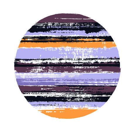 Hipster circle vector geometric shape with stripes texture of ink horizontal lines. Disc banner with old paint texture. Badge round shape logotype circle with grunge stripes background.