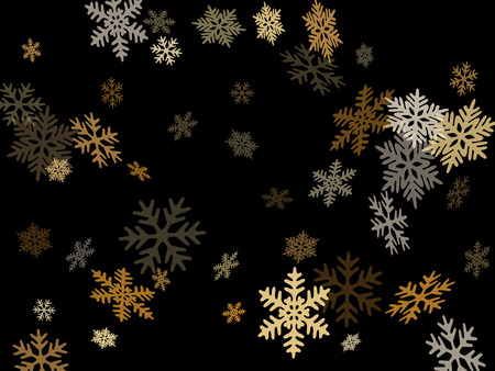 Snow flakes falling macro vector illustration, christmas snowflakes confetti falling scatter card. Winter xmas snow background. Motion flakes falling and flying winter cool vector background
