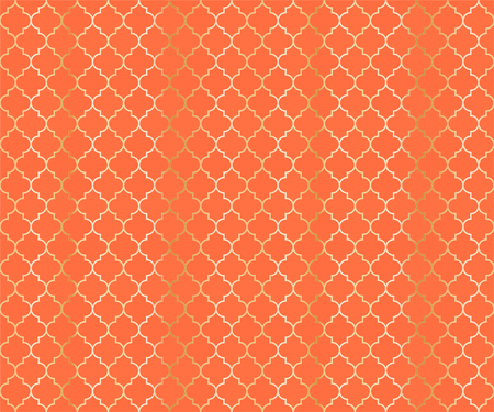 Moroccan Mosque Vector Seamless Pattern. Argyle rhombus muslim textile background. Traditional mosque pattern with gold grid. Stylish islamic argyle seamless design of lantern lattice shape tiles.
