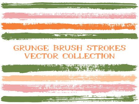 Long ink brush strokes isolated design elements. Set of paint lines. Modern stripes, textured paintbrush stroke shapes. Collection of ink brushes, stripes isolated on white, vector paint samples.