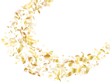 Gold glossy confetti flying on white holiday banner background. Rich flying sparkle elements, gold foil gradient serpentine streamers confetti falling birthday vector.