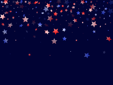 American Memorial Day stars background. Holiday confetti in US flag colors for President Day. Bright red blue white stars on dark American patriotic vector. 4th of July stardust scatter.