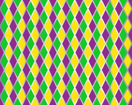 Modèle sans couture traditionnel de Mardi Gras avec des couleurs or, vert, jaune et violet. Modèle vectoriel arlequin. Carnaval Mardi Grass fond transparent traditionnel. Ornement à losanges.
