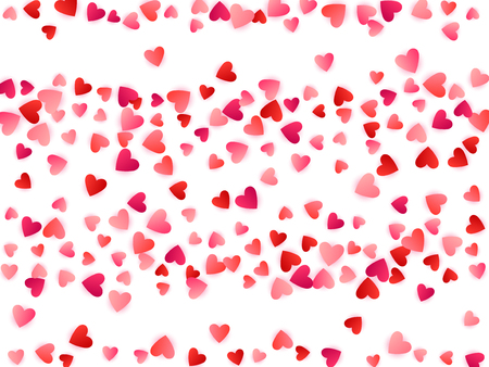 Ruby red flying hearts bright love passion vector background. Romantic emotions signs confetti. Abstract flying red hearts scatter for wedding invitation card.