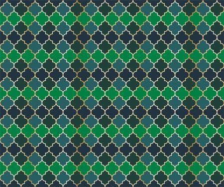 Pakistani Mosque Window Vector Seamless Pattern. Ramadan mubarak muslim background. Traditional ramadan mosque vector pattern with gold grid. Chic islamic window grid design of lantern shapes tiles.
