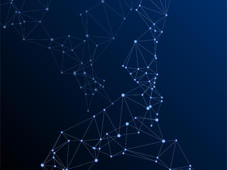 Concept scientifique de nuage de données volumineuses. Nœuds de réseau plexus fond bleu foncé. Noeuds hub fractals connectés par des lignes. Structure de nuage de visualisation de données volumineuses de vecteur de technologie. Brin d'hélice d'ADN, molécule. Vecteurs