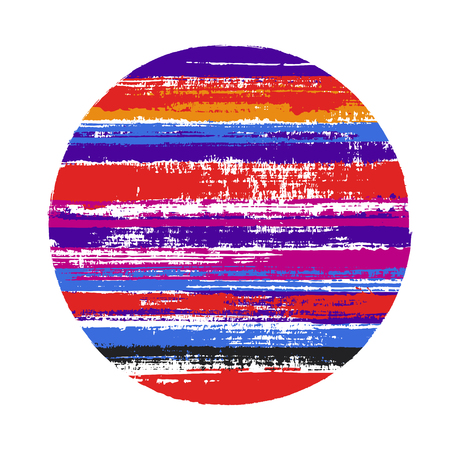 Abstract circle vector geometric shape with stripes texture of paint horizontal lines. Planet concept with old paint texture. Badge round shape circle logo element with grunge stripes background.