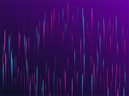 Fiber optics abstract cyber background. Glowing lines falling abstract big data concept tech vector background. Digital geometric blue purple lines streams visual optic technology, speed concept.