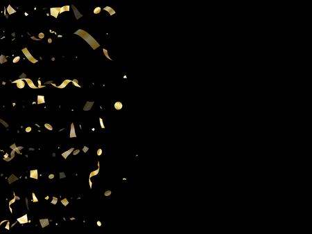 Gold glossy confetti flying on black holiday vector graphic design. Beautiful flying tinsel elements, gold foil texture serpentine streamers confetti falling birthday vector.