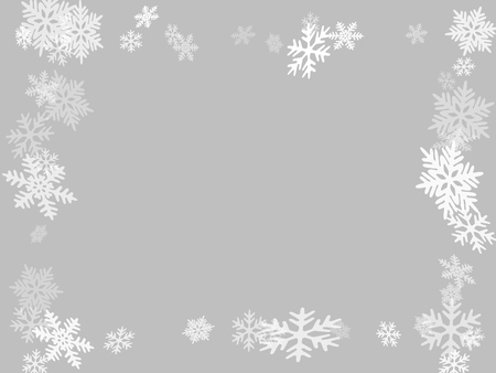 Winter snowflakes border minimal vector background.  Macro snowflakes flying border illustration, holiday banner with flakes confetti scatter frame, snow elements. Frosty winter symbols.