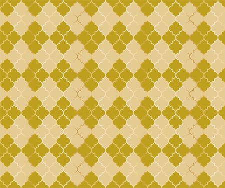 Moroccan Mosque Vector Seamless Pattern. Argyle rhombus muslim fabric background. Traditional ramadan pattern with gold grid. Rich islamic argyle seamless design of lantern lattice shape tiles. Ilustração