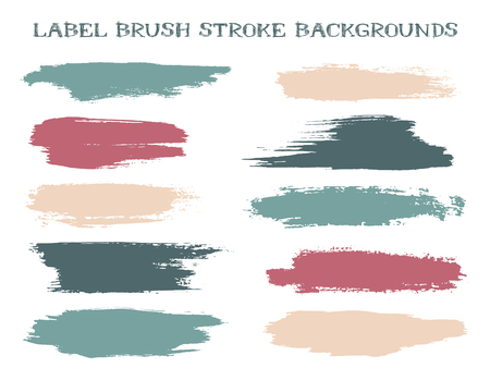 Grunge label brush stroke backgrounds, paint or ink smudges vector for tags and stamps design. Painted label backgrounds patch. Vector ink traces, color combinations. Ink smudges, pink blue stains. Illustration