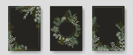 Vector invitation cards with herbal twigs and branches wreath and corners border frames. Rustic vintage bouquets with fern fronds, mistletoe twigs, willow, palm branches in black.