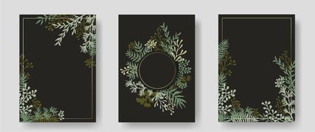 Vektoreinladungskarten mit Kräuterzweigen und Zweigen, Kranz und Ecken, Rahmen. Rustikale Vintage-Blumensträuße mit Farnwedeln, Mistelzweigen, Weiden, Palmzweigen in Schwarz.