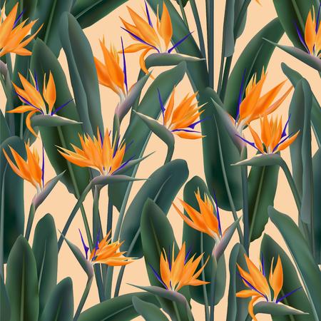 Tropical crane flower vector seamless pattern. Bohemian tropical plant fabric print design. South African plant tropical blossom of crane flower, strelitzia. Floral wallpaper.