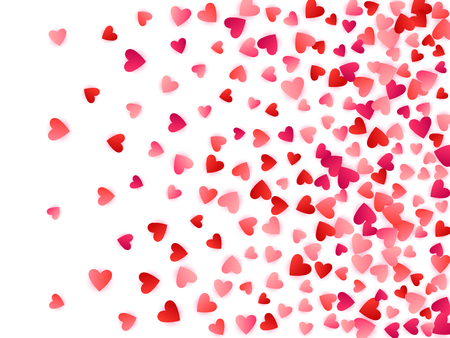 Ruby red flying hearts bright love passion vector background. Amour wallpaper. Romantic emotions signs confetti. Simple flying red hearts scatter for wedding invitation card. Illustration